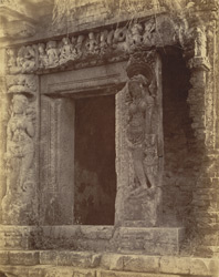 Close view of entrance to the ruined temple at Kharod, Bilaspur District.